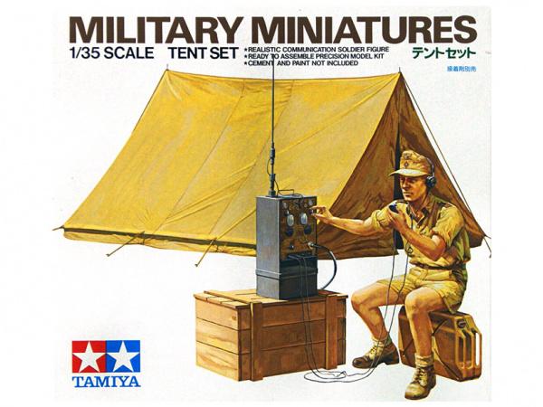 Сборная модель Нем.радист с палаткой (африканский корпус), ящик, канистра