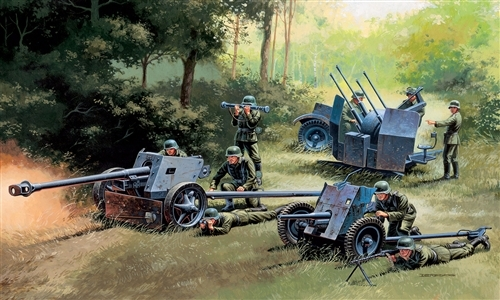 Сборная модель Набор немецкой артиллерии (pak-35, pak-40, flak-38)