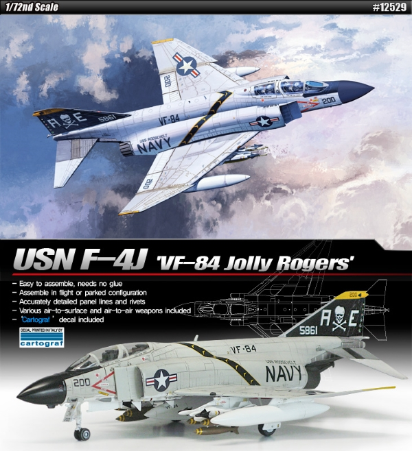 Сборная модель Самолёт  USN F-4J VF-84 Jolly Rogers  (1:72)