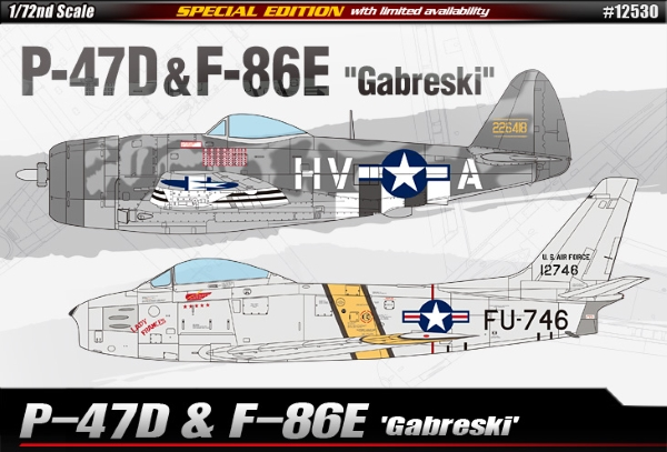 Сборная модель Самолёт  P-47D & F-86E GABRESKI  (1:72)