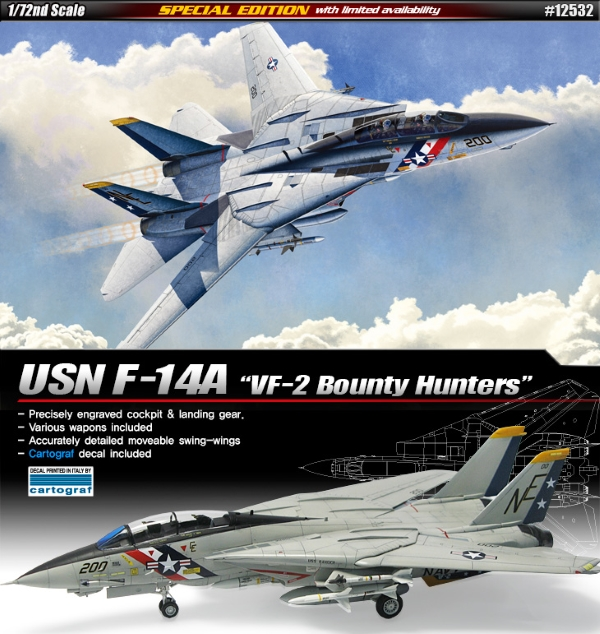 Самолёт  F-14A VF-2 Bounty Hunters  (1:72)