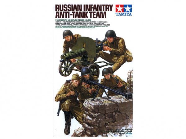 Модель Советские пехотинцы в бою (5 фигур) с пулемётом