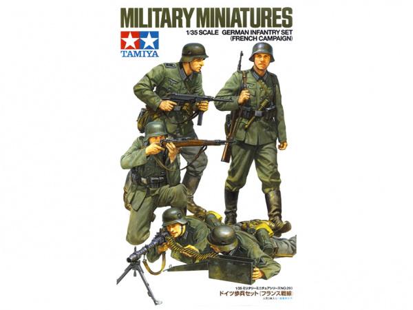 Модель Немецкие пехотинцы (5 фигур, с МР-40, MG-34, MG-42, французс