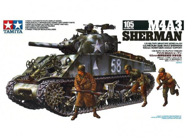 Модель Американский танк M4A3 Sherman со 105 мм. гаубицей, конец 19