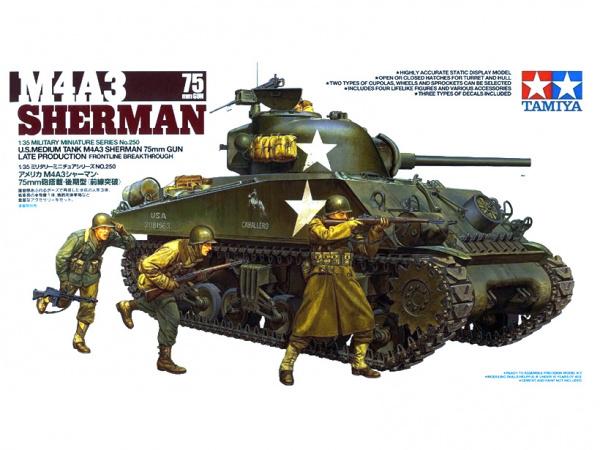 Модель Американский танк M4A3 Sherman Шерман с 75 мм. пушкой. 1944г