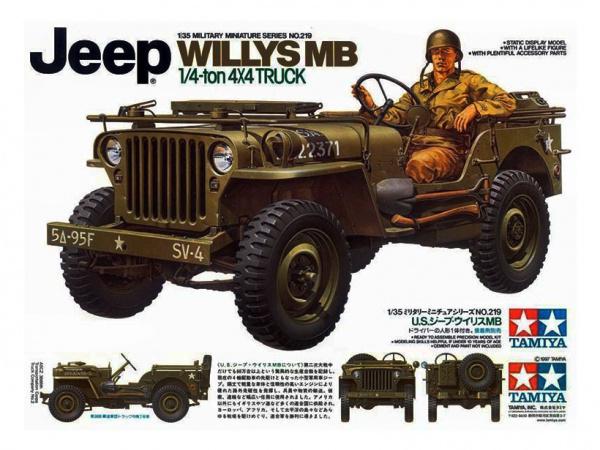 Модель Американский 1/4-тонный джип 4х4 Willys MB с фигурой водител