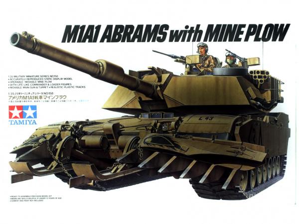 Американский танк M1A1 Abrams с минным траллом и 2 фигурами