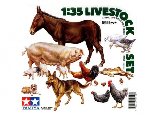 Модель Фигурки животных (гуси, куры, свиньи, собака, осел и кролики