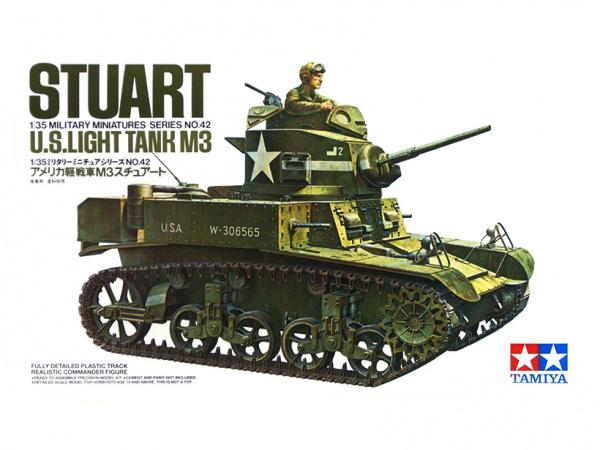 Модель Американский легкий танк M3 Stuart с фигурой командира (1:35