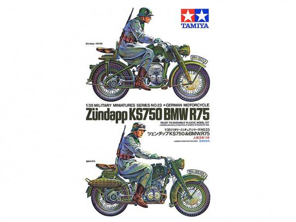 Модель Немецкие мотоциклисты на BMW R75 и Zundapp KS750 (1:35)
