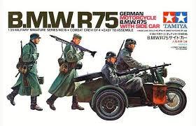 Модель Немецкие мотоциклисты на BMW R75 с коляской 4 фигуры (1:3