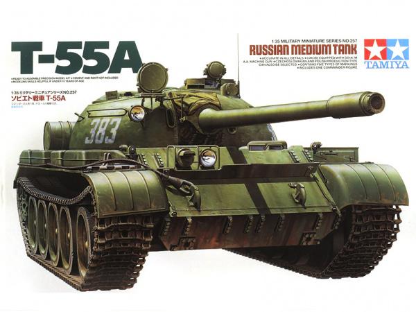 Модель Советский танк Т-55А, с 1 фигурой (фототравление и металличе