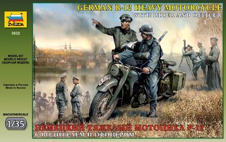 Немецкий тяжелый мотоцикл Р-12 с водителем и офицером