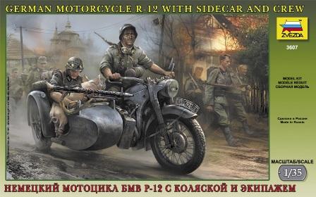 Сборная модель Немецкий мотоцикл БМВ Р-12 с коляской и экипажем