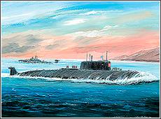 Сборная модель Атомная подводная лодка Курск. Масштаб:1/350.