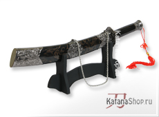 Китайский меч Longhubaodao в чёрных ножнах