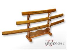 Катана, вакидзаси и танто в деревянных ножнах